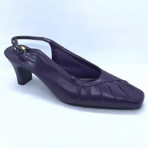Soft Style Purple Slingback Heels Sz 8 Hush Puppie